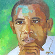 Barack Obama Oil Paintings - Barack Obama President Elect The Greening of America by Suzanne Giuriati-Cerny