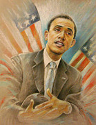 Obama Portrait Mixed Media Prints - Barack Obama Taking it Easy Print by Miki De Goodaboom
