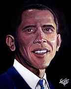 Democrat Painting Framed Prints - Barack Obama Framed Print by Tom Carlton