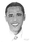 African American History Drawings Prints - Barak Obama Print by Marvin Lee