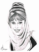 Pencil Drawing Posters - Barbara Eden Poster by Murphy Elliott