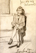 Theater Drawings - Barbara Waiting for Rehearsal  1939 by Art By Tolpo Collection