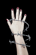 Hand Photo Framed Prints - Barbed Wire Framed Print by Joana Kruse