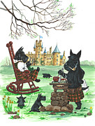 Scottish Terrier Paintings - Barbeque MacDuff by Margaryta Yermolayeva
