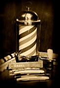 Barbering Framed Prints - Barber - barber pole - black and white Framed Print by Paul Ward