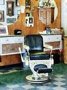Hairdressers Posters - Barber - Barber Shop One Chair Poster by Susan Savad