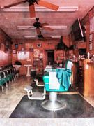 Barber Shop Prints - Barber - Barber Shop With Green Barber Chairs Print by Susan Savad