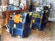 Barbers Posters - Barber Chair With Orange Barber Cape Poster by Susan Savad