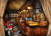Nostalgic Prints - Barber - Closed on Sundays Print by Mike Savad