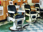 Barbers Prints - Barber - Corner Barber Shop Print by Susan Savad