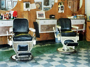 Hairdressers Posters - Barber - Corner Barber Shop Two Chairs Poster by Susan Savad