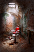 Crumble Metal Prints - Barber - Eastern State Penitentiary - Remembering my last haircut  Metal Print by Mike Savad
