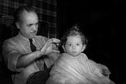 Black And White Photography Photos - Barber - First Haircut by Mike Savad