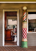 Suburbanscenes Posters - Barber - I need a hair cut Poster by Mike Savad