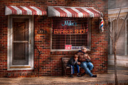 Nostalgic Sign Prints - Barber - Metuchen NJ - Waiting for Mike Print by Mike Savad