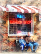 Susan Savad Prints - Barber - Neighborhood Barber Shop Print by Susan Savad