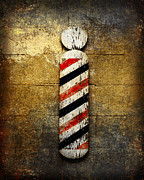 Man Cave Mixed Media Metal Prints - Barber Pole Metal Print by Andee Photography
