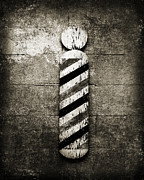 Vintage Barber Prints - Barber Pole Black And White Print by Andee Photography