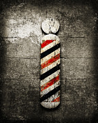 Red White And Blue Mixed Media Posters - Barber Pole Selective Color Poster by Andee Photography