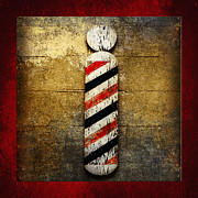 Red White And Blue Mixed Media Posters - Barber Pole Square Poster by Andee Photography