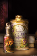 Antique Bottles Posters - Barber -  Sharp and Dohmes Violet Toilet Powder  Poster by Mike Savad