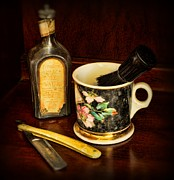 Brown Clipper Posters - Barber - Shaving Mug And Toilet Water Poster by Paul Ward