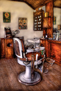 Haircut Posters - Barber - The Barber Chair Poster by Mike Savad