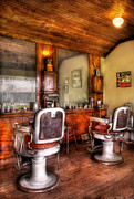 White Chairs Framed Prints - Barber - The Barber Shop II Framed Print by Mike Savad