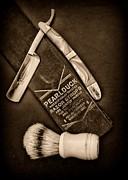 Barbershop Prints - Barber - Tools for a Close Shave - black and white Print by Paul Ward