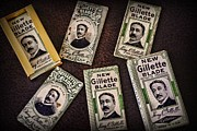 Moustache Prints - Barber - Vintage Gillette Razor Blades Print by Paul Ward