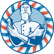 Barber Shop Prints - Barber With Clipper Hair Cutter and Scissors Print by Aloysius Patrimonio