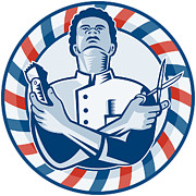 Barber Shop Prints - Barber With Pole Hair Clipper and Scissors Retro Print by Aloysius Patrimonio