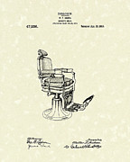 Chair Drawings Prints - Barbers Chair 1915 Patent Art Print by Prior Art Design