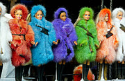 Rainbow Framed Prints - Barbie Dolls in Colored Fur Coats Framed Print by Amy Cicconi