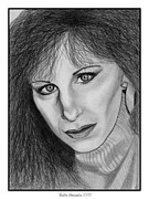 Closeups Drawings Posters - Barbra Streisand in 1983 Poster by J McCombie
