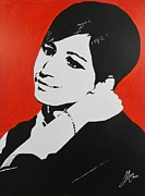 Singer Mixed Media Originals - Barbra Streisand by Juan Molina
