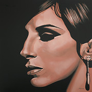 Work Of Art Paintings - Barbra Streisand by Paul Meijering