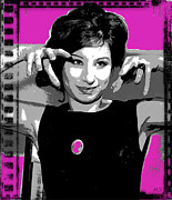 1960s Movies Digital Art Posters - Barbra Streisand - Pink Pop Art Poster by Absinthe Art By Michelle LeAnn Scott