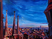 Barcelona Painting Posters - Barcelona City View and Sagrada Familia Poster by M Bleichner
