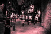 Barcelona Pyrography Prints - Barcelona nights Print by Hristo  Velikov