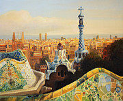 Landscape Oil Framed Prints - Barcelona Park Guell Framed Print by Kiril Stanchev