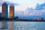 Vacation Art - Barcelona skyline from sea by Michal Bednarek