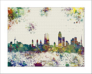 Boston Skyline Paintings - Barcelona Skyline by WaterColorMaps Chris and Mary Ann