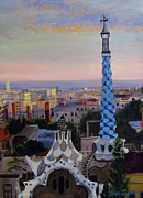 Barcelona Painting Originals - Barcelona Sunset - Park Guell by Stacy Ingram
