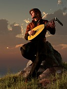 Musicians Digital Art Prints - Bard With Lute Print by Daniel Eskridge