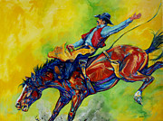 Athletes Painting Originals - Bareback bronc rider by Derrick Higgins