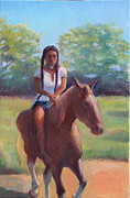 Indian Maiden Paintings - Bareback Riding by Gwen Carroll