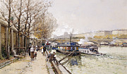 Barges On The Seine Print by Eugene Galien-Laloue
