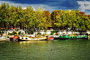 Red Autumn Posters - Barges on the Seine Poster by Mary Machare