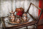 Sterling Metal Prints - Barista - Tea Set - Morning tea  Metal Print by Mike Savad